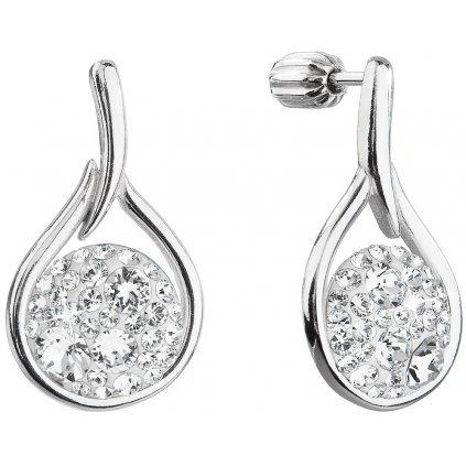 Strieborné dámske náušnice so Swarovski crystals kruh v slze - crystal