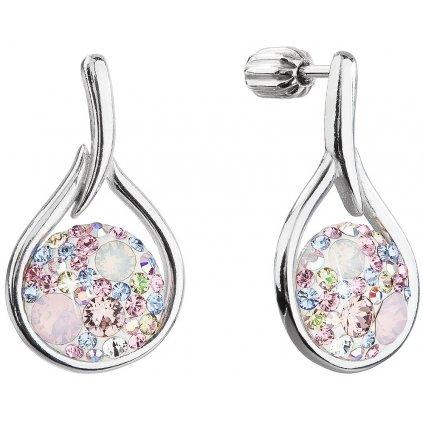 Strieborné dámske náušnice so Swarovski crystals kruh v slze - magic rose