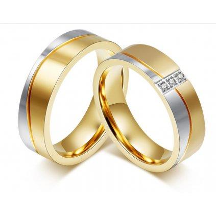 Obrúčky z chirurgickej ocele kombinované zlato strieborná farba 2 ks 1