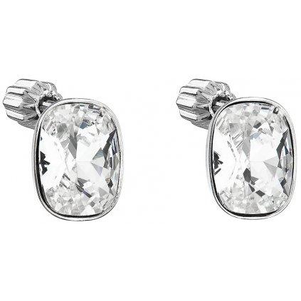 Strieborné dámske náušnice so Swarovski Crystals biely oválny obdĺžnik