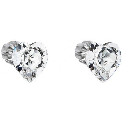 Swarovski Crystals strieborné náušnice srdiečka biele číre
