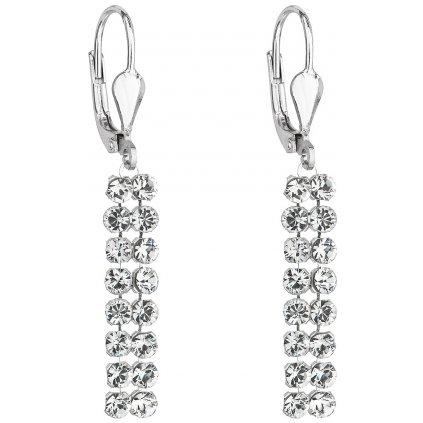 Swarovski Crystals dlhé visiace strieborné náušnice s čírymi krištálikmi