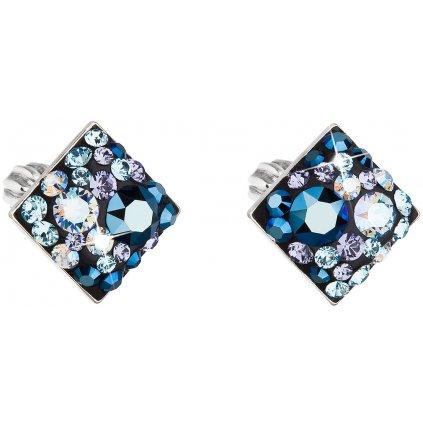 Kosoštvorce strieborné náušnice so Swarovski Crystals - blue style