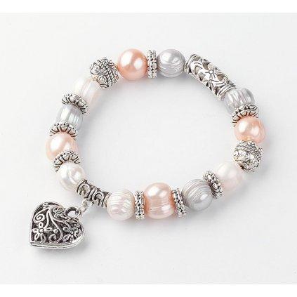 Dámsky perlový náramok so srdiečkom