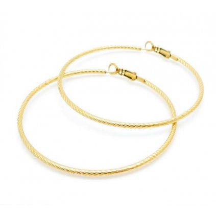 Náušnice kruhy zlatej farby z chir. ocele 60 mm