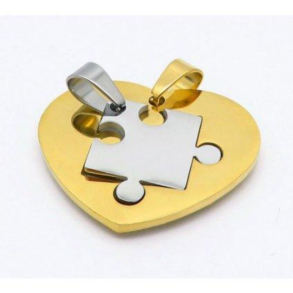 Dvojdielny prívesok srdce puzzle