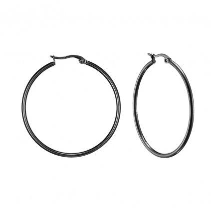 Náušnice z chirurgickej ocele čierne kruhy 44 mm (4)