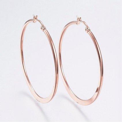 Náušnice kruhy ružovo zlaté 44 mm