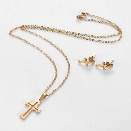 Dámska súprava náhrdelník a náušnice krížik z chirurgickej ocele
