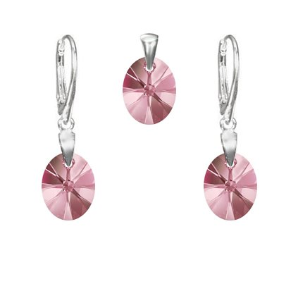 Strieborný set SWAROVSKI ELEMENTS oválny tvar ružová farba