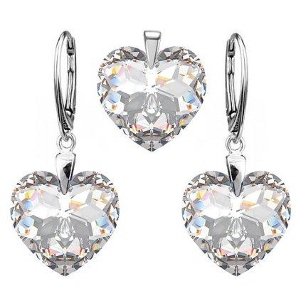 Strieborný set SWAROVSKI Crystals v tvare srdca s odleskom