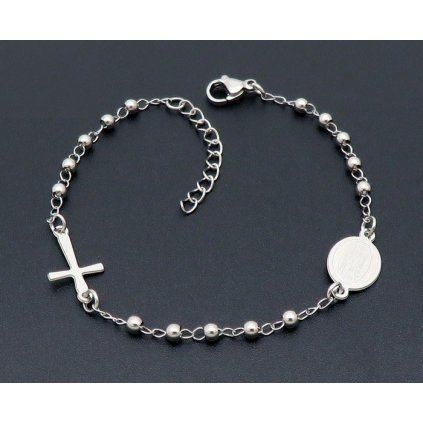 Ružencový náramok s krížikom a medajlónom