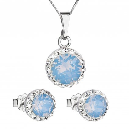 Súprava šperkov okrúhly model so Swarovski crystals - modrý opál