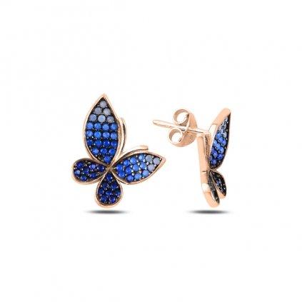 Strieborné náušnice letiaci Motýľ so svetlo a tmavo modrými zirkónmi