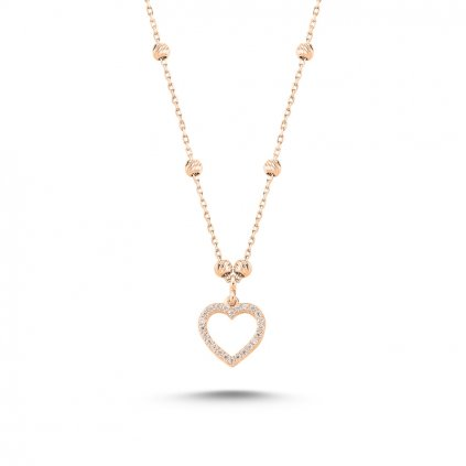 Strieborný dámsky náhrdelník vzor Srdce s čírymi krištálikmi prevedenie Rose Gold  Ag 925/1000 - 1,81 g
