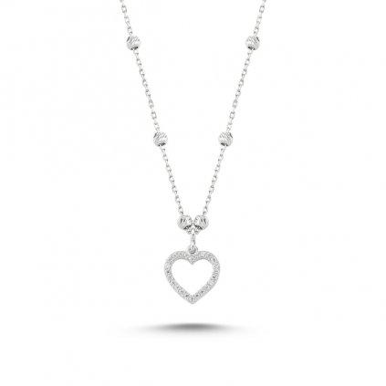 Strieborný dámsky náhrdelník vzor Srdce s čírymi zirkónmi