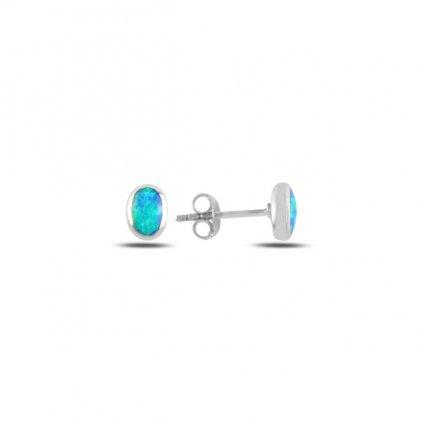 Strieborné dámske oválne náušnice s modrým opálom