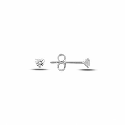 Strieborné dámske napichovacie náušnice Srdiečka 3 mm
