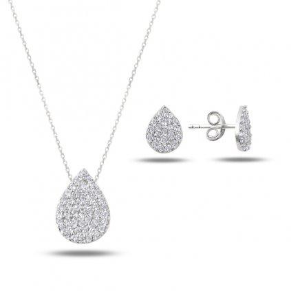 Náušnice prívesok s retiazkou strieborná súprava šperkov Slza so zirkónmi