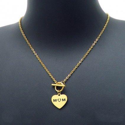 Dámsky náhrdelník srdce s nápisom Mom