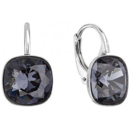 Čierne štvorce strieborné dámske náušnice so Swarovski Crystals Graphite