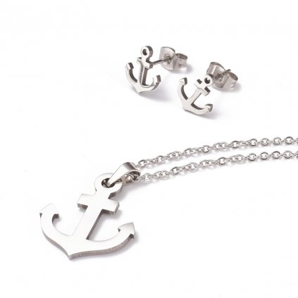 Súprava šperkov kotva pre šťastie náušnice prívesok a retiazka z chirurgickej ocele v striebornom prevedení