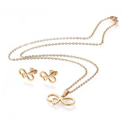 Nekonečno a láska súprava šperkov náhrdelník ležiaca osmička so srdiečkom a náušnice v zlatom prevedení