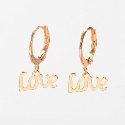 Náušnice z chirurgickej ocele s nápisom Love