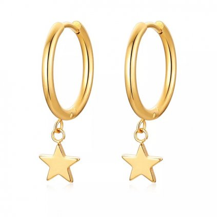 Náušnice kruhy v zlatej farbe s hviezdičkou 7 mm