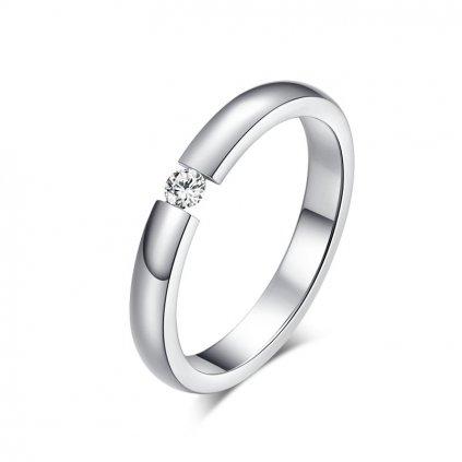 Dámsky prsteň s vysokým leskom AAA Cubic Zirconia v striebornom prevedení z chirurgickej ocele