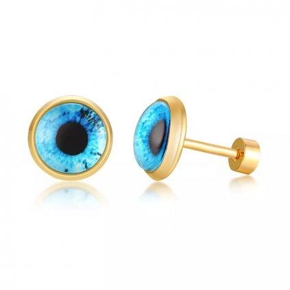 Náušnice z chirurgickej ocele modré oči