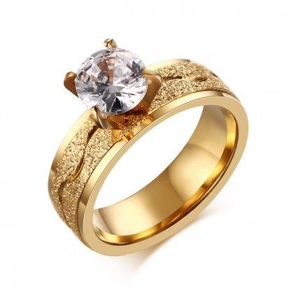 Dámsky zásnubný prsteň so zirkónom z chirurgickej ocele