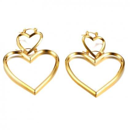Dámske náušnice srdcia dvojité v zlatom prevedení z chirurgickej ocele