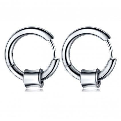 Dámske náušnice kruhy s Huggie krúžkom z chirurgickej ocele