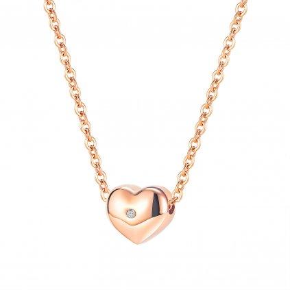 Dámsky náhrdelník srdiečko na retiazke Rose Gold so zirkónom z chirurgickej ocele