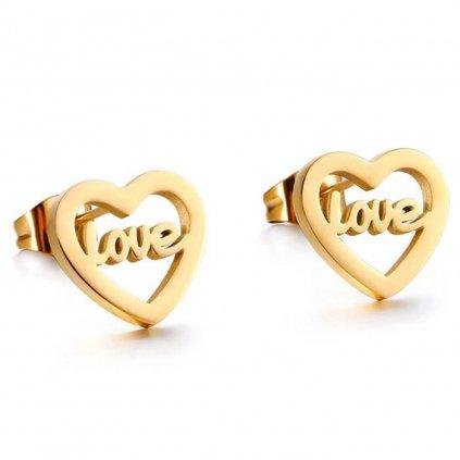 Náušnice srdiečko zlatej farby Love