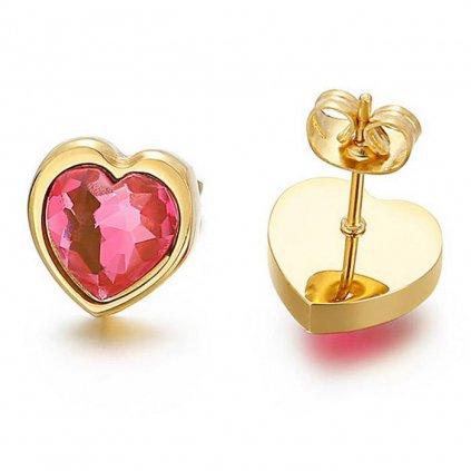 Náušnice tvar srdca s ružovým zirkónom 11 mm