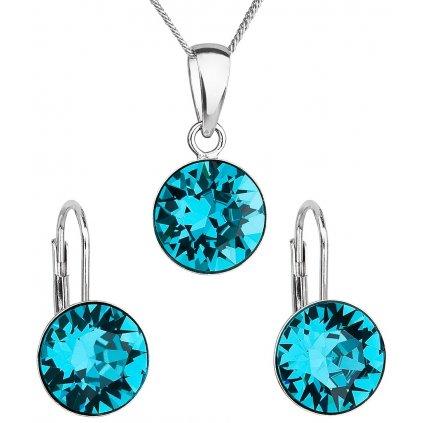 Sada šperkov s krištáľmi Swarovski náušnice, retiazka a prívesok blue zircon okrúhle