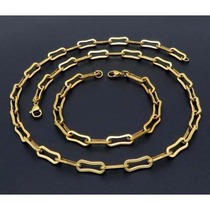 Retiazka a náramok z chirurgickej ocele zlatej farby 55 20