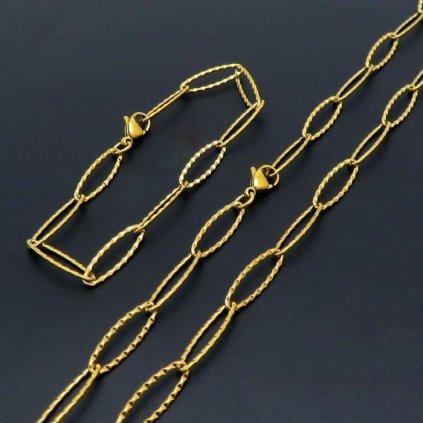 Retiazka a náramok z chirurgickej ocele zlatej farby 6 mm