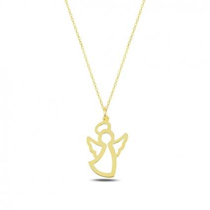 Strážny anjel náhrdelník s retiazkou v zlatom prevedení
