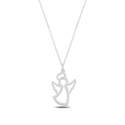 Strážny anjel náhrdelník s retiazkou v striebornom prevedení