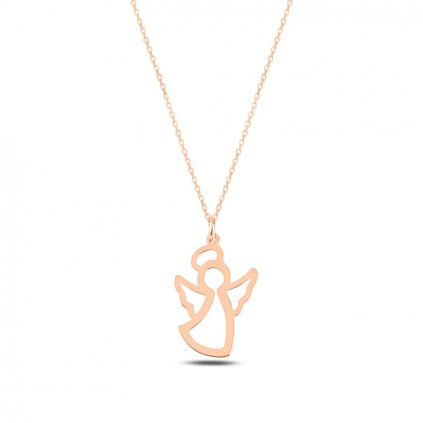 Strážny anjel náhrdelník s retiazkou v prevedení Rose Gold