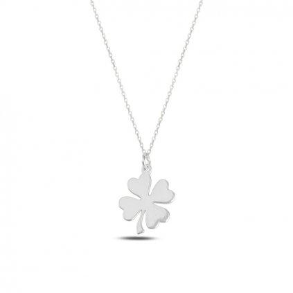 Veselý štvorlístok pre šťastie náhrdelník prívesok a retiazka