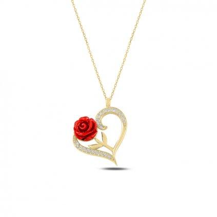 Ruža a srdce z lásky strieborný náhrdelník v zlatom prevedení s retiazkou