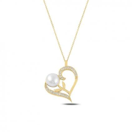 Veselý náhrdelník srdce s perličkou v zlatom prevedení