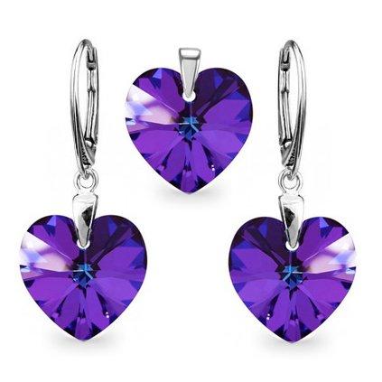 Strieborný set SWAROVSKI ELEMENTS v tvare srdca fialová farba