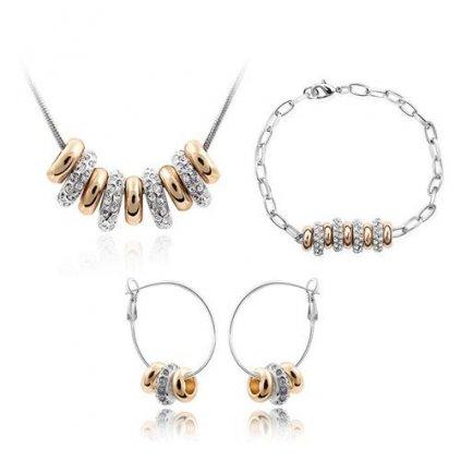 Set SWI crystal Kruhy so zirkónmi strieborno zlatá farba