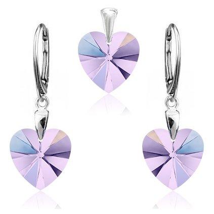 Strieborný set SWAROVSKI ELEMENTS v tvare srdca svetlo fialová farba