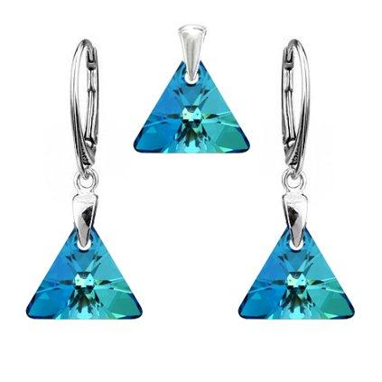 Strieborný set SWAROVSKI ELEMENTS v tvare trojuholníka modrá farba